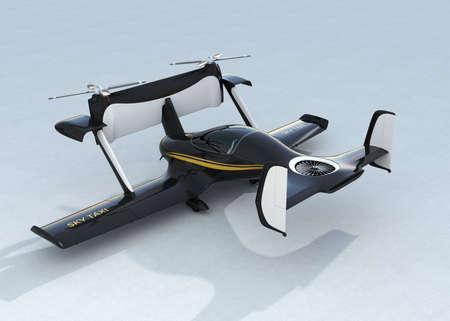 Autonomous flying drone taxi concept. 3D rendering image. Original design.