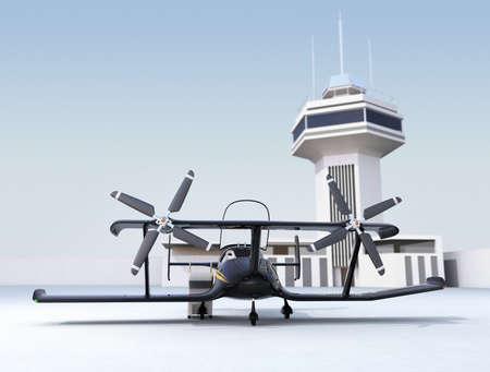 Autonóm repülő drone taxi a repülőtéren. 3D-s renderelő kép.