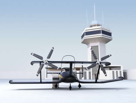 Canopies: Autonomous flying drone taxi in airport. 3D rendering image.