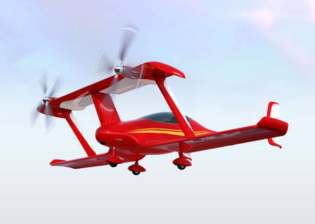 Red autonomous flying drone taxi on the ground. 3D rendering image. Original design.