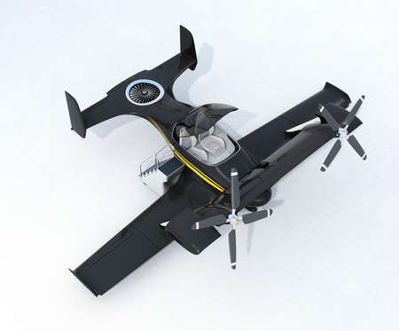 Black autonomous flying drone taxi on the ground. 3D rendering image. Original design.