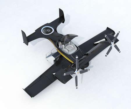 planos electricos: Negro de taxi avión no tripulado de vuelo autónomo en el suelo. Representación 3D de la imagen. Diseño original.