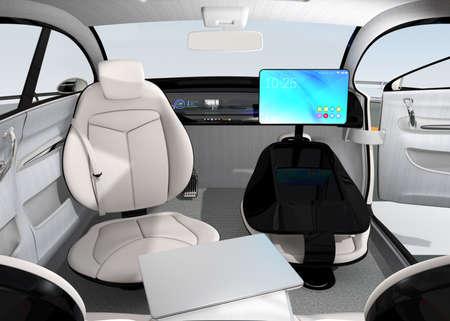 Zelfrijdende auto interieur. Concept voor het nieuwe bedrijf werkstijl bij het verplaatsen op de weg. 3D-rendering afbeelding.