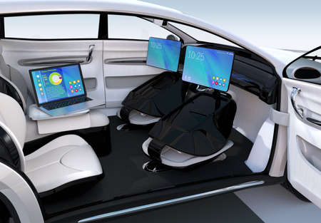 utility: Autonomous car interior design. Concept for new business work style when moving on the road. 3D rendering image.