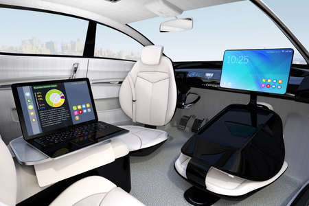folding screens: Autonomous car interior design. Concept for new business work style when moving on the road. 3D rendering image.
