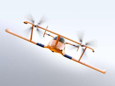 planos electricos: Vista frontal del avión no tripulado de taxi volar autónoma amarillo volando en el cielo. Representación 3D de la imagen. Foto de archivo