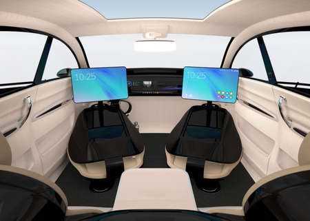 自律型自動車のインテリア デザイン。道路上を移動するときのビジネス作業スタイルの新しいコンセプトです。3 D レンダリング イメージ。