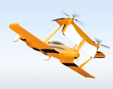 Yellow autonomous flying drone taxi flying in the sky. 3D rendering image. Stock Photo