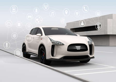 Connected cars and autonomous cars concept. 3D rendering image. Archivio Fotografico
