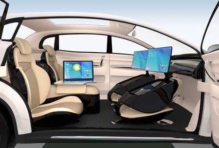 Autonomous car interior design. Concept for new business work style when moving on the road. 3D rendering image.