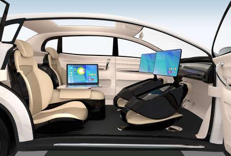 transportes: diseño interior del coche autónomo. Concepto para un nuevo estilo de trabajo de negocios cuando se mueve en el camino. Representación 3D de la imagen.