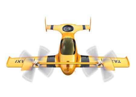 planos electricos: Taxi amarillo avión no tripulado de vuelo autónomo aislado sobre fondo blanco. Representación 3D de la imagen.