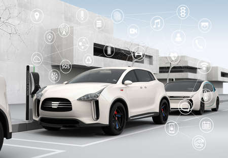 Connected cars and autonomous cars concept. 3D rendering image. Banco de Imagens
