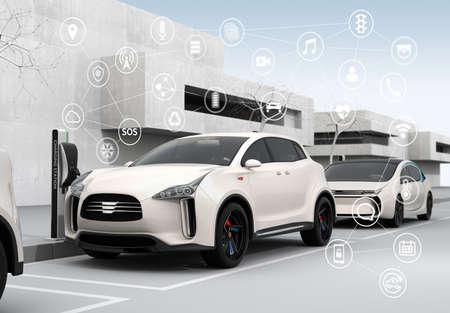 Connected cars and autonomous cars concept. 3D rendering image. Standard-Bild