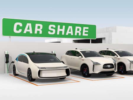 Car-Sharing-Konzept. 3D-Rendering-Bild.