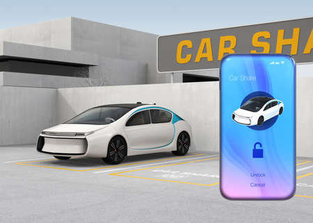 Smart phone with car sharing app in front of the white car. Concept for car sharing. 3D rendering image.