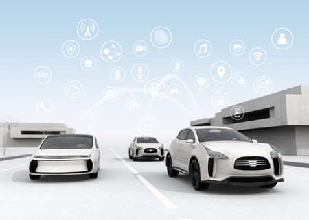 Connected cars and autonomous cars concept. 3D rendering image. Imagens