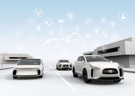 Podłączone samochody i autonomiczne pojęcie samochody. 3D renderowanie obrazu.