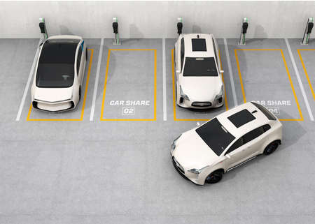 車共有概念。3 D レンダリング イメージ。