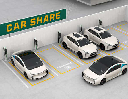 Car sharing concept. 3D rendering image.
