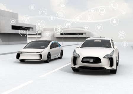 Connected auto's en zelfrijdende auto concept. 3D-rendering afbeelding.