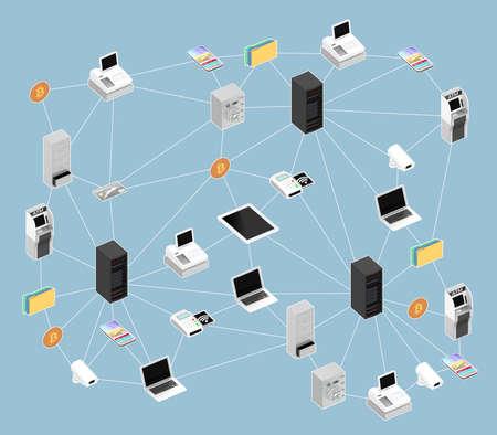 Blockchain ネットワークの概念図。3 D レンダリング画像クリッピング パスと。