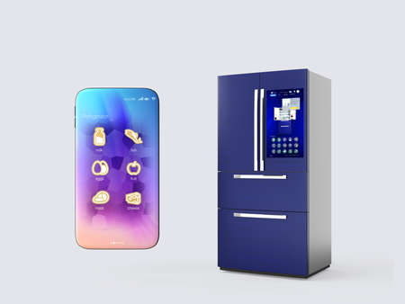Refrigerator and smartphone isolated on gray background. Smart appliances concept. 3D rendering image. Reklamní fotografie