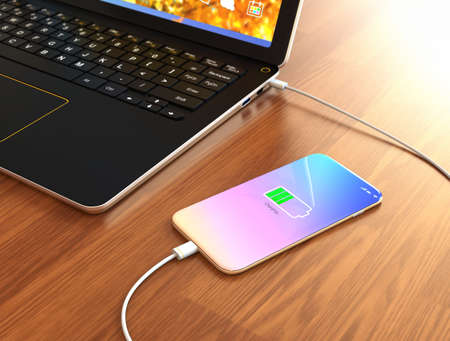 Smartphone charging from laptop computer. 3D rendering image. Фото со стока