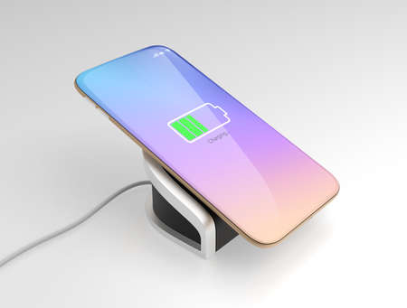 wireless: Smart phone charging on wireless charger. 3D rendering image with clipping path.