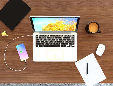 phone cord: Smartphone, laptop, digital tablet and mug cup on wooden desktop. 3D rendering image.