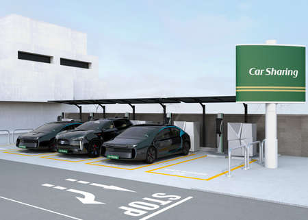 car rent: Car sharing station on the corner of the street. 3D rendering image.