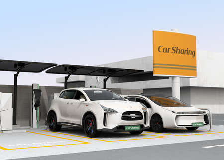Car sharing station on the corner of the street. 3D rendering image.