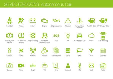 conjunto de iconos de concepto coche autónomo