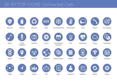conjunto de iconos de coches concepto conectado Ilustración de vector