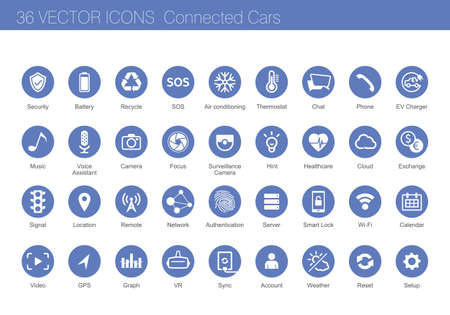 security icon: Icon set of connected cars concept