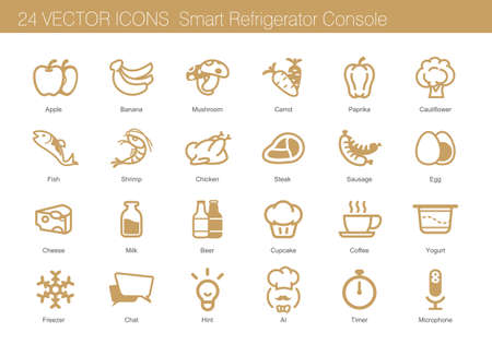 Icon set of food, drink and smart refrigerator Stock Vector - 67697904