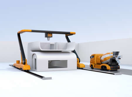 Concrete mixer truck in the side of industrial 3D printer which printing house. 3D rendering image.