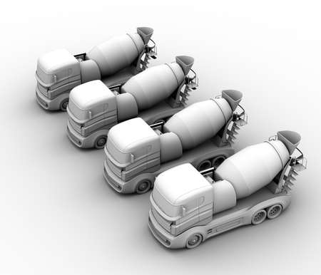 Clay rendering of concrete mixer trucks on white background. 3D rendering image.