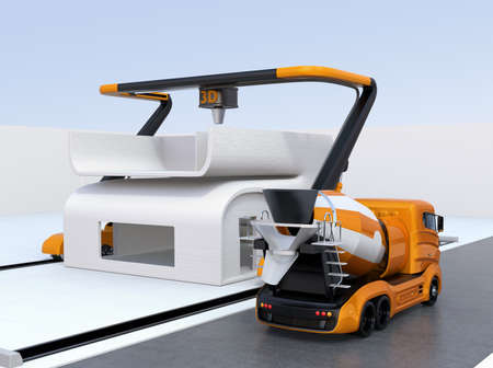 printing house: Concrete mixer truck in the side of industrial 3D printer which printing house. 3D rendering image.
