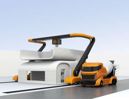 Betonmixer vrachtwagen in de zijkant van de industriële 3D-printer die drukkerij. 3D-rendering afbeelding.