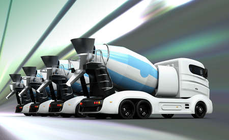 Rear view of concrete mixer trucks on dynamic texture background. 3D rendering image with clipping path. Stock Photo