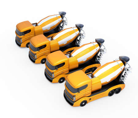 heavy vehicle: Fleet of concrete mixer trucks isolated on white background. 3D rendering image with clipping path.