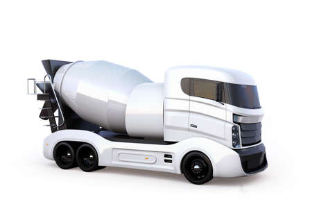 Side view of concrete mixer truck isolated on white background. 3D rendering image with clipping path.