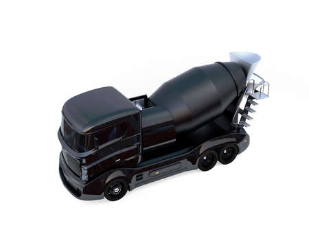 Black concrete mixer truck isolated on white background. 3D rendering image with clipping path.