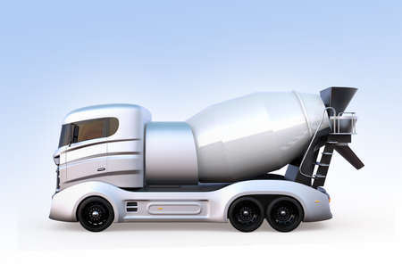 Side view of concrete mixer truck isolated on light blue background. 3D rendering image with clipping path.