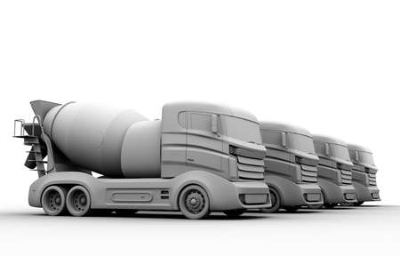 concrete construction: Clay rendering of concrete mixer trucks on white background. 3D rendering image.