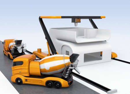 printing house: Concrete mixer trucks in the side of industrial 3D printer which printing house. 3D rendering image. Stock Photo