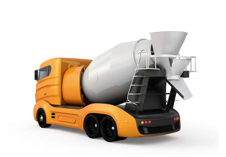 Rear view of concrete mixer truck isolated on white background. 3D rendering image with clipping path.