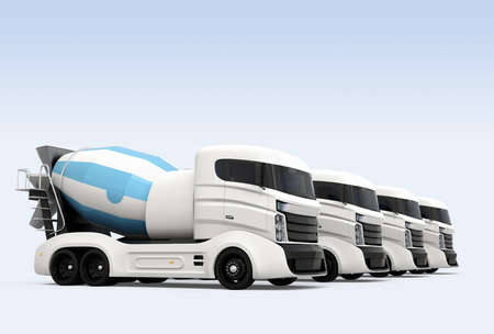 Fleet of concrete mixer trucks isolated on light blue background. 3D rendering image with clipping path. 写真素材