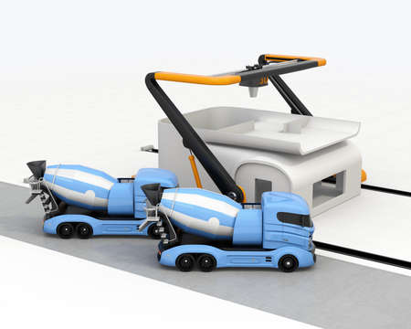 Concrete mixer trucks in the side of industrial 3D printer which printing house. 3D rendering image. Stock Photo